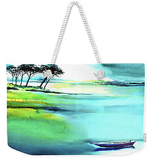 Weekender Tote Bag featuring the painting Blue Lagoon by Anil Nene