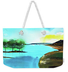 Weekender Tote Bag featuring the painting Blue Lake by Anil Nene