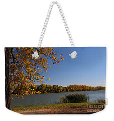 Weekender Tote Bag featuring the photograph Blue Lake In Fall by Yumi Johnson