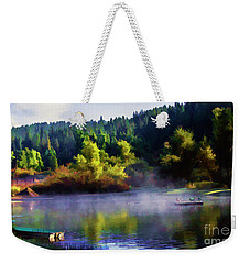 Blue Lake Spring Misty Geese  Weekender Tote Bag