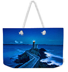 Blue Lighthouse Weekender Tote Bag