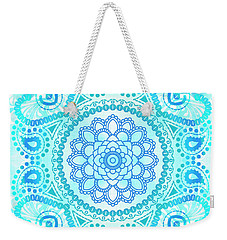 Blue Lotus Mandala Weekender Tote Bag by Tammy Wetzel