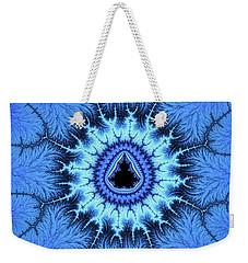 Weekender Tote Bag featuring the digital art Blue Mandelbrot Fractal Relaxing And Balanced by Matthias Hauser