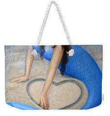Weekender Tote Bag featuring the painting Blue Mermaid's Heart by Sue Halstenberg