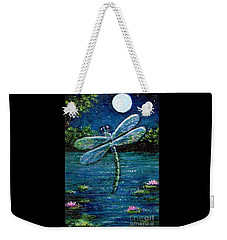 Weekender Tote Bag featuring the painting Blue Moon Dragonfly by Sandra Estes
