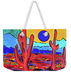 Weekender Tote Bag featuring the painting Blue Moon by Jeanette French