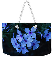Weekender Tote Bag featuring the photograph Blue Moon Phlox by Cristina Stefan