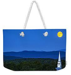 Blue Moon Rising Over Church Steeple Weekender Tote Bag