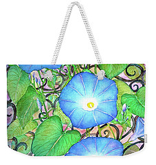 Blue Morning Glories Weekender Tote Bag