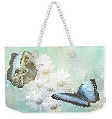 Blue Morpho Butterflies And White Gerbers Weekender Tote Bag