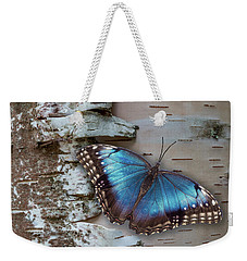 Blue Morpho Butterfly On White Birch Bark Weekender Tote Bag