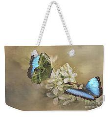 Blue Morpho In Spring Weekender Tote Bag by Janette Boyd
