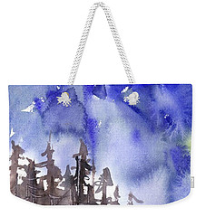 Weekender Tote Bag featuring the painting Blue Mountains by Yolanda Koh