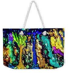 Weekender Tote Bag featuring the painting Blue Night Waterfall by Melinda Ledsome