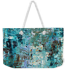 Weekender Tote Bag featuring the painting Blue Ocean - Abstract Art by Carmen Guedez