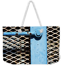 Weekender Tote Bag featuring the photograph Blue On White by Karol Livote