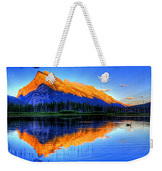 Blue Orange Mountain Weekender Tote Bag by Test Testerton