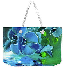 Blue Orchids Weekender Tote Bag by Jenny Lee