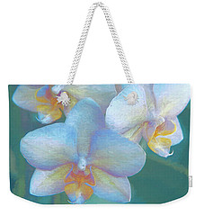 Weekender Tote Bag featuring the photograph Blue Orchids12 by Susan Crossman Buscho