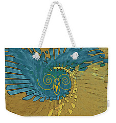 Abstract Blue Owl Weekender Tote Bag by Ben and Raisa Gertsberg