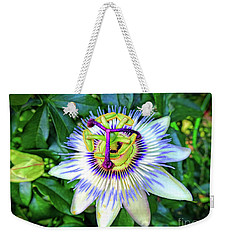 Blue Passion Flower Weekender Tote Bag by Sue Melvin
