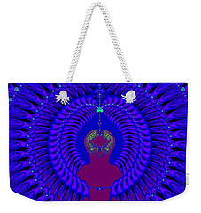 Blue Peacock Fractal 92 Weekender Tote Bag