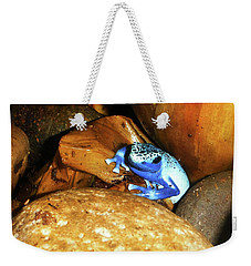 Weekender Tote Bag featuring the photograph Blue Poison Dart Frog by Anthony Jones