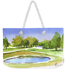Weekender Tote Bag featuring the painting Blue Pond At The A V Country Club by Kip DeVore