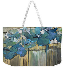 Weekender Tote Bag featuring the painting Blue Poppies by Eleatta Diver