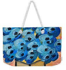 Blue Poppies In Square Vase  Weekender Tote Bag by Ramona Matei