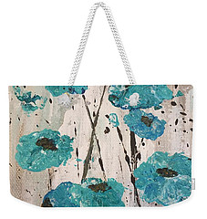 Weekender Tote Bag featuring the painting Blue Poppies by Lucia Grilletto