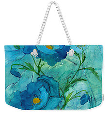 Blue Poppies, Watercolor On Yupo Weekender Tote Bag