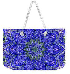 Blue Purple Lavender Floral Kaleidoscope Wall Art Print Weekender Tote Bag by Carol F Austin