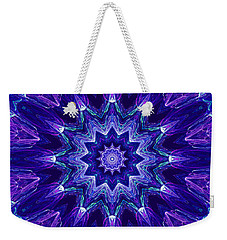 Blue And Purple Mandala Fractal Weekender Tote Bag
