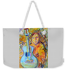 Weekender Tote Bag featuring the painting Blue Quitar by Mary Schiros