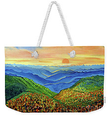 Weekender Tote Bag featuring the painting Blue Ridge Mountain Morn by Ecinja Art Works