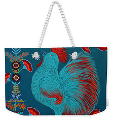Blue Rooster Folk Art Weekender Tote Bag