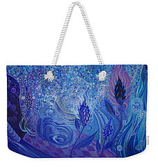 Weekender Tote Bag featuring the painting Blue Rosebud Ballroom by Adria Trail