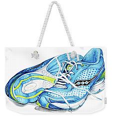 Blue Running Shoes Weekender Tote Bag by Heidi Kriel