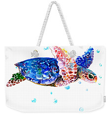 Blue Sea Turtle Weekender Tote Bag by Suren Nersisyan