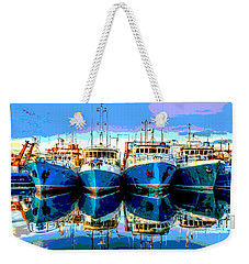 Blue Shrimp Boats Weekender Tote Bag by Charles Shoup