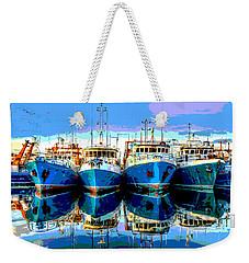 Blue Shrimp Boats Weekender Tote Bag