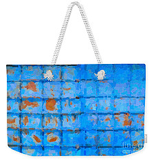 Weekender Tote Bag featuring the digital art Blue Shutter And Rust by Ari Salmela