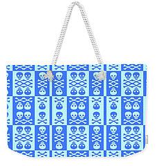 Blue Skull And Crossbones Pattern Weekender Tote Bag