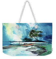 Weekender Tote Bag featuring the painting Blue Sky by Anil Nene