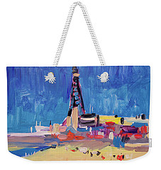 Weekender Tote Bag featuring the painting Blue Sky Blackpool by Nop Briex
