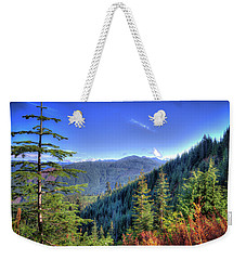 Weekender Tote Bag featuring the photograph Blue Skykomish by Spencer McDonald