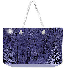 Weekender Tote Bag featuring the photograph Blue Snow by David Dehner