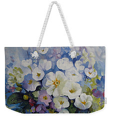 Weekender Tote Bag featuring the painting Blue Spring by Elena Oleniuc