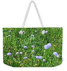 Blue Spring Flowers In Field Weekender Tote Bag